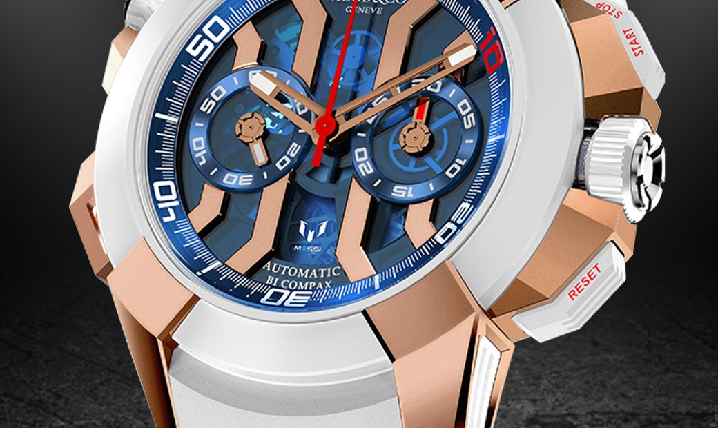 Jacob & Co. 捷克豹 [NEW] EPIC-X Chrono Messi Rose Gold & Titanium EC313.42.PE.AA.A (Retail:HK$439,100)