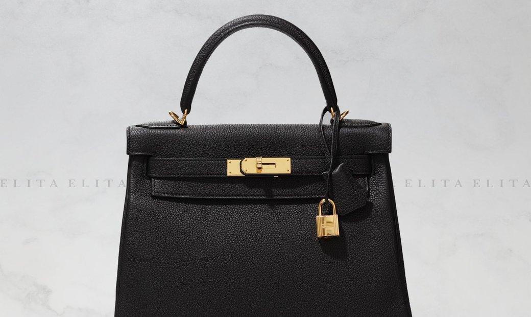 Hermes Kelly 28 Black Togo Leather