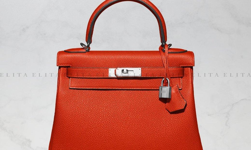 Hermes Kelly 28 Rouge Casaque Togo Leather