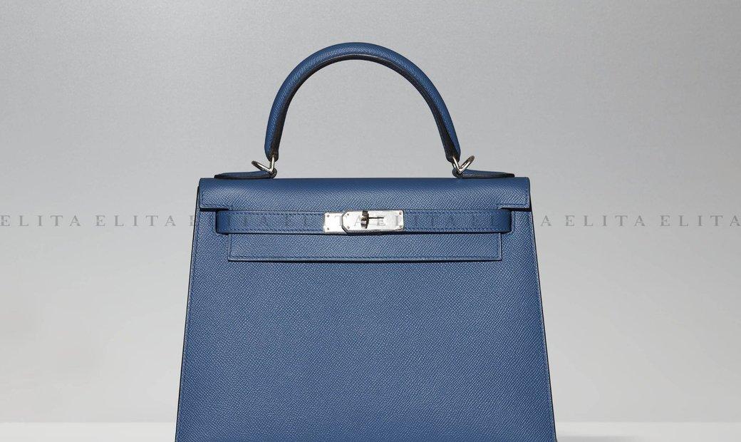 Hermes Kelly 28 Blue Agate Epsom Leather