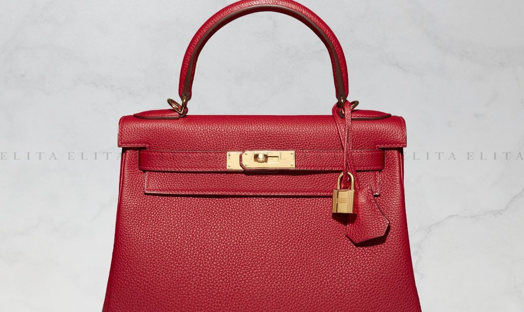 Hermes Kelly 28 Rouge Vif Togo Leather