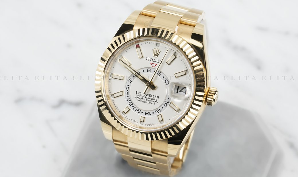 Rolex Sky-Dweller 326938-0005 18 Ct Yellow Gold White Dial