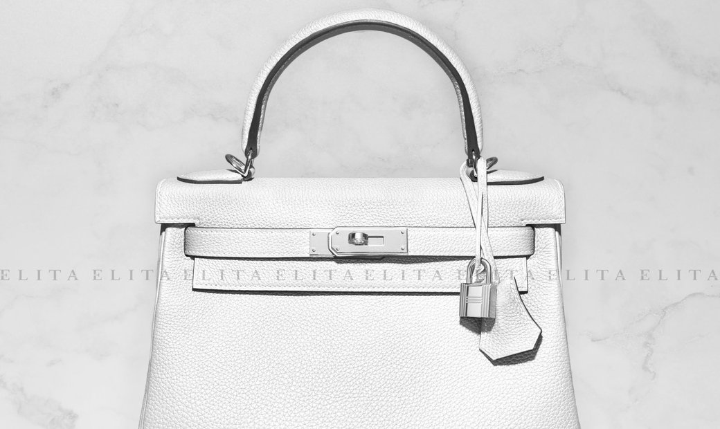 """Hermes Kelly 28 White """"Ghost"""" Clemence Leather"""