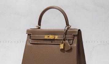 Hermes Kelly 28 Etoupe Togo Leather