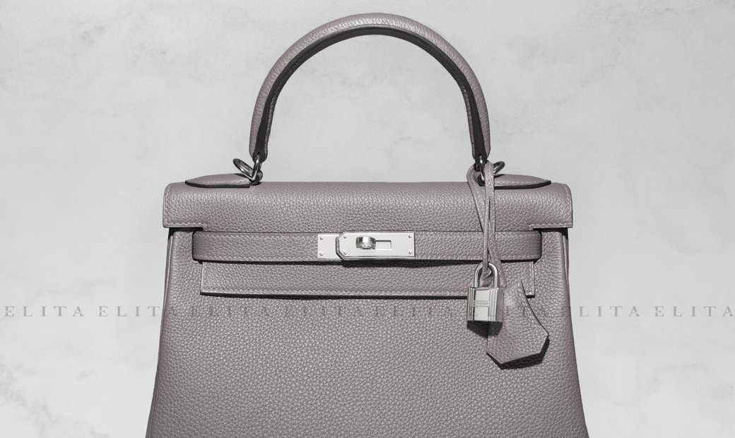 Hermes Kelly 32 Etain Clemence Leather