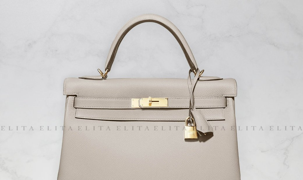 Hermes Kelly 32 Gris Asphalte Togo Leather