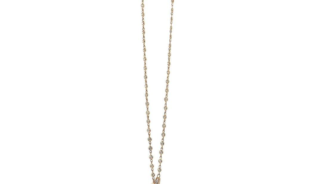 LB Exclusive LB Exclusive 18K Rose Gold Diamond Pave 10 Oval Long Sautoir Necklace