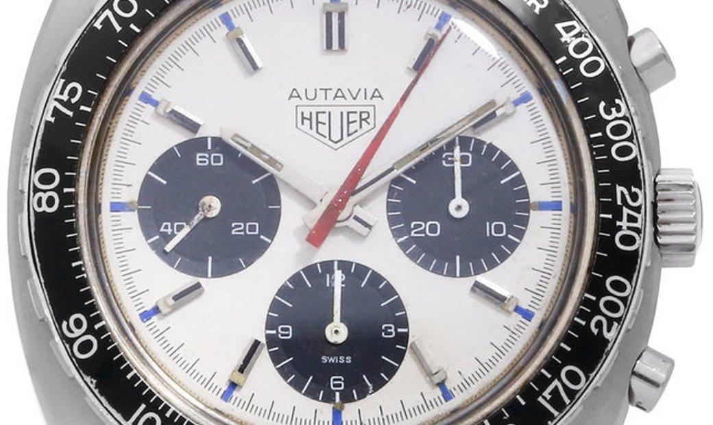 Heuer Autavia  73663, Baton, 1975, Good, Case material Steel, Bracelet material: Leathe