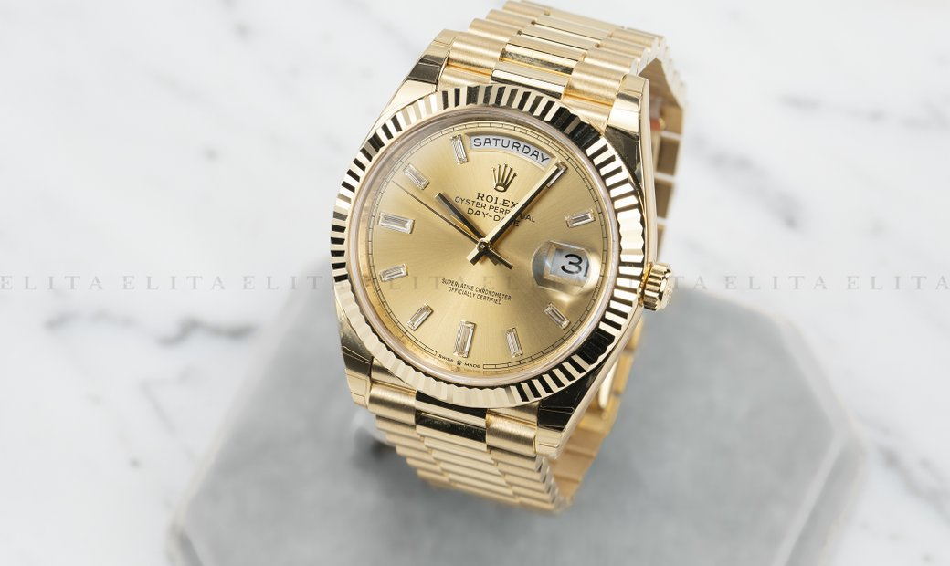 Rolex Day-Date 40 228238-0005 18 Ct Yellow Gold Diamond Set Champagne Dial