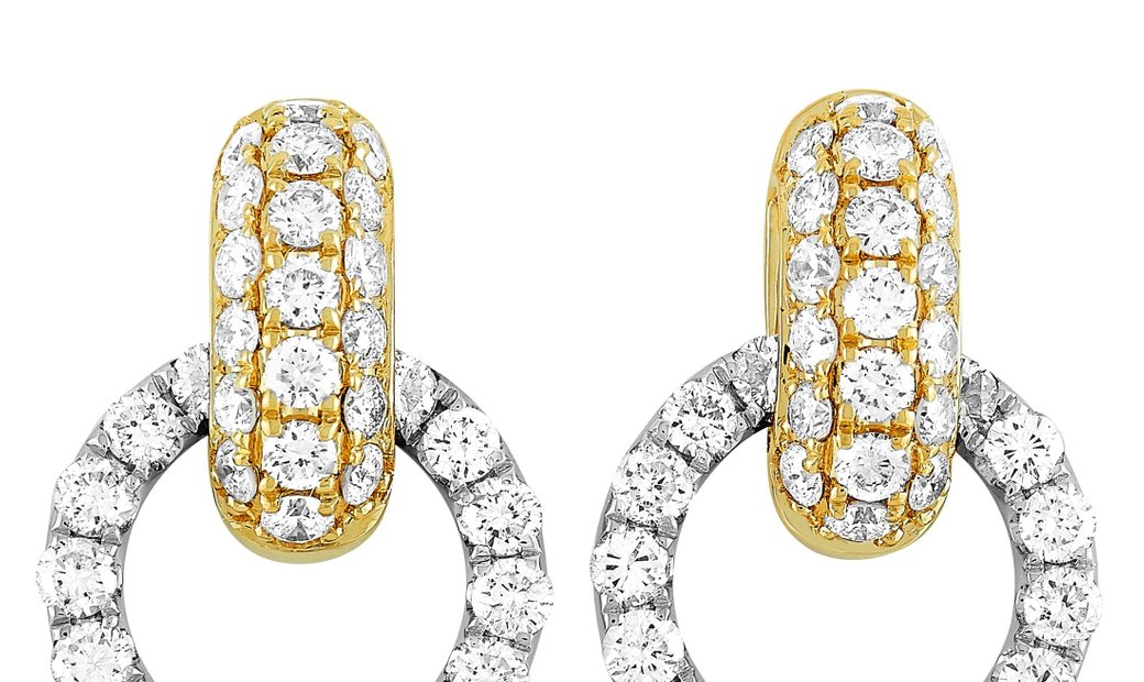 LB Exclusive LB Exclusive 18K White and Yellow Gold 1.64 ct Diamond Link Dangle Push Back Earrings