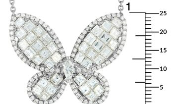 LB Exclusive LB Exclusive 18K White Gold 5.35 ct Diamond Butterfly Pendant Necklace