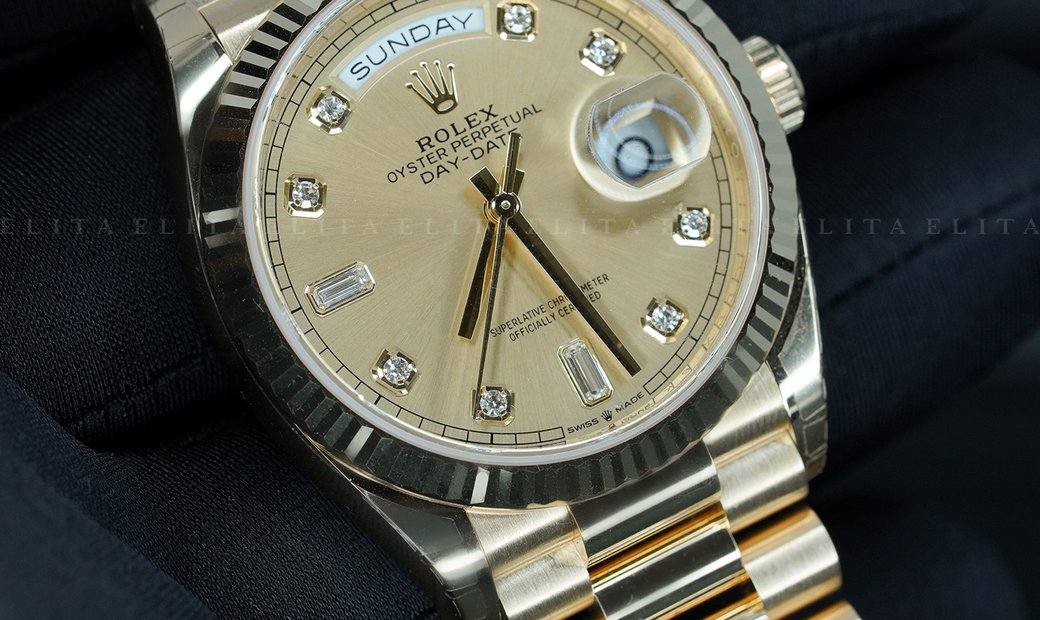 Rolex Day-Date 36 - 128238-0008 18 CT Yellow Gold Diamond Set Champagne Coloured Dial