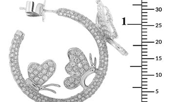 LB Exclusive LB Exclusive 18K White Gold 5.05 ct Diamond Butterfly Hoop Earrings