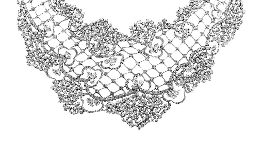 Stefan Hafner Stefan Hafner 18K White Gold Diamond Lace Large Bib Necklace