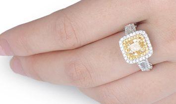 Light Yellow Diamond Ring, 2.95 Ct. TW, Cushion shape, GIA Certified, 1182017615