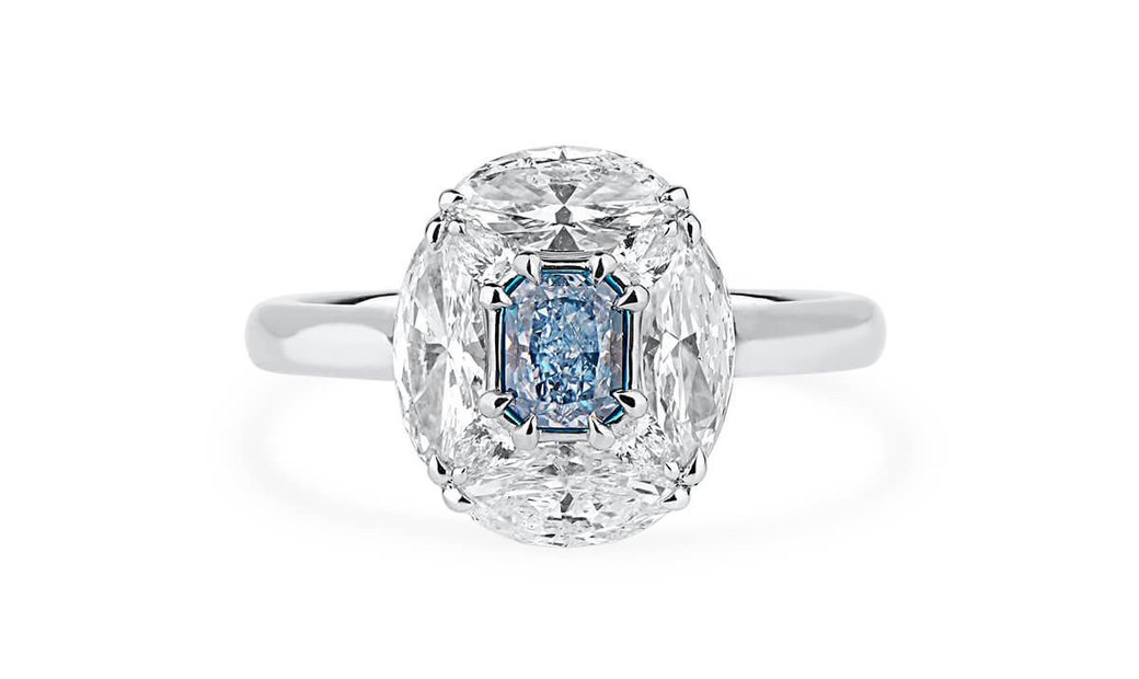 Fancy Intense Blue Diamond Ring, 0.39 Ct. (1.93 Ct. TW), Radiant shape, GIA Certified, 2171786807