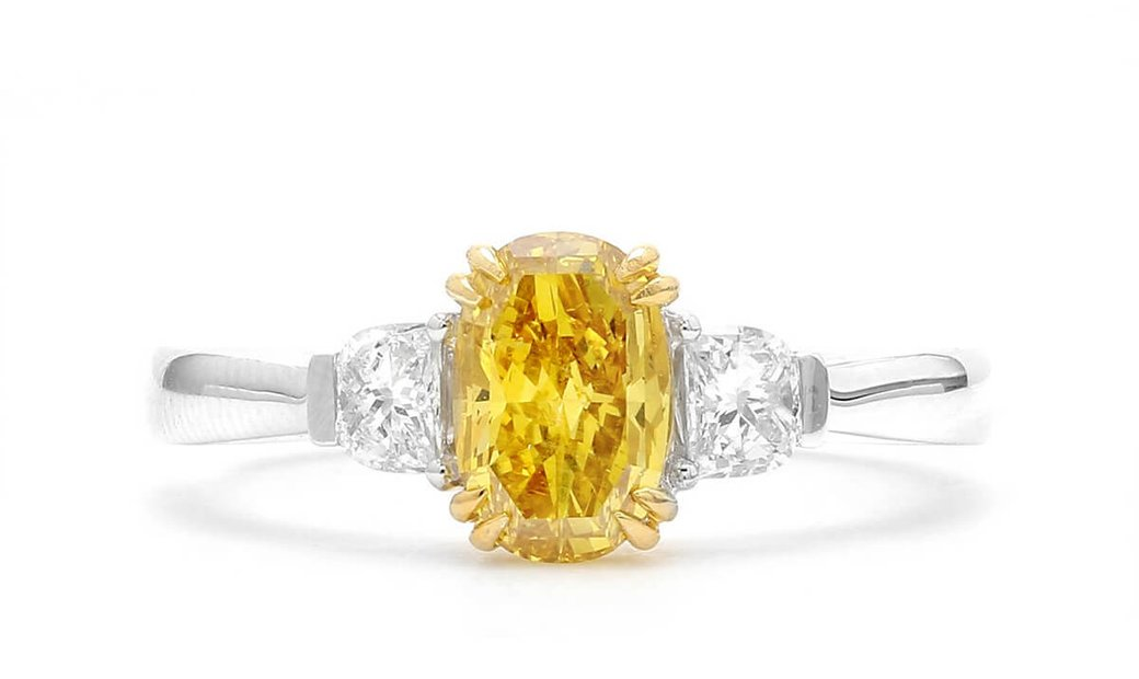 Fancy Deep Orangy Yellow Diamond Ring, 1.05 Ct. (1.37 Ct. TW), Oval shape, GIA Certified, 2125768547