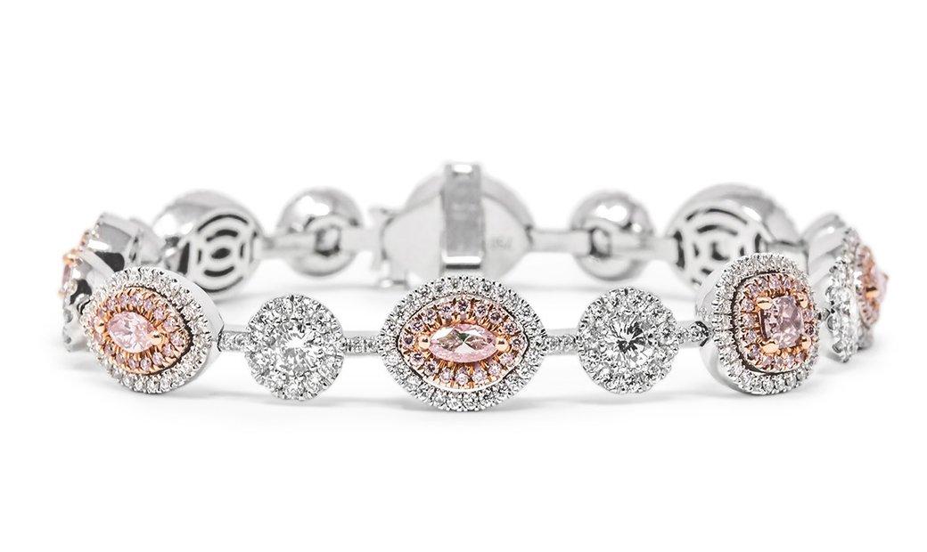 Fancy Pink Diamond Bracelet, 3.14 Carat, Mix shape, GIA Certified, JABF05271139