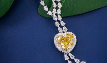 Fancy Brownish Yellow Diamond Necklace, 10.03 Ct. (24.32 Ct. TW), Heart shape, GIA Certified, 732647