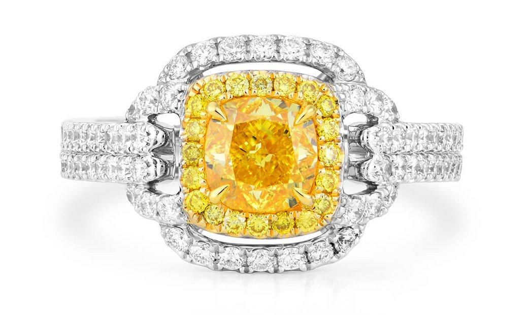 Fancy Vivid Yellow Diamond Ring, 1.00 Ct. (1.82 Ct. TW), Cushion shape, GIA Certified, 2181975180