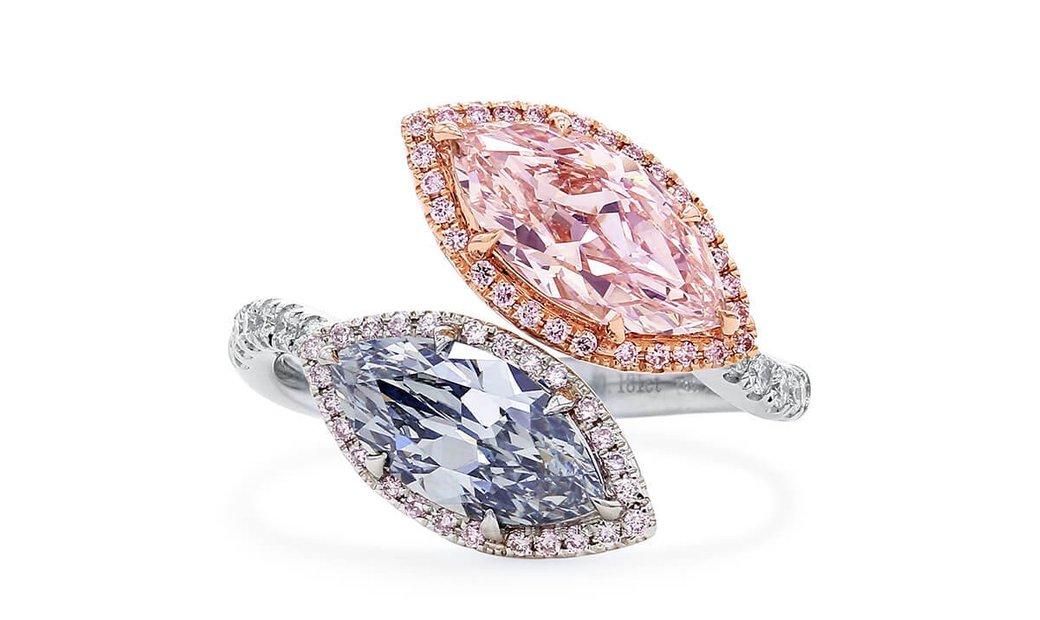 Fancy Bluish Green Diamond Ring, 2.64 Ct. (2.97 Ct. TW), Marquise shape, GIA Certified, JCRF05470572