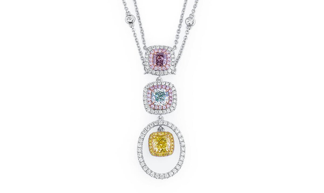 Fancy Intense Greenish Yellow Diamond Necklace, 2.13 Ct. (3.12 Ct. TW), Cushion shape, GIA Certified