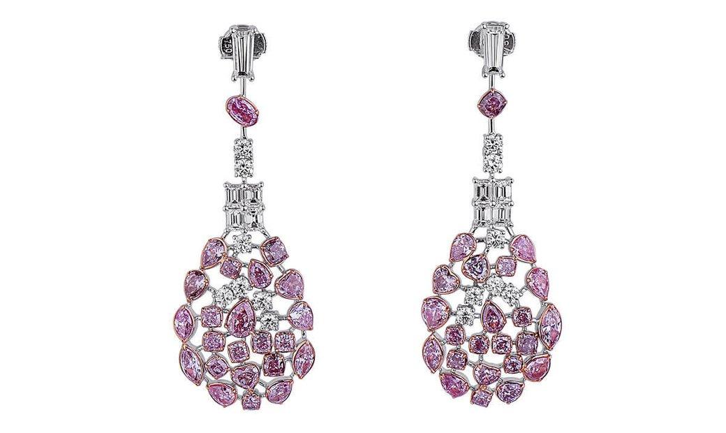 Fancy Pink Diamond Earrings, 7.38 Ct. (10.78 Ct. TW), Cushion shape, EG_Lab Certified, J5926220329