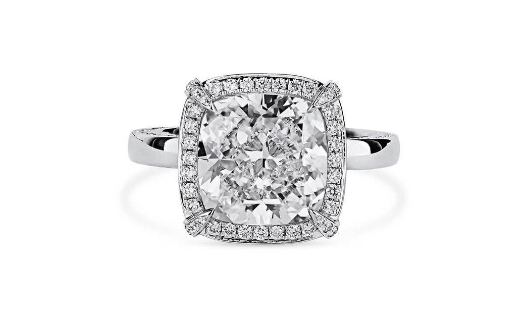 White Diamond Ring, 5.01 Ct. (5.90 Ct. TW), Cushion shape, GIA Certified, 1206045728