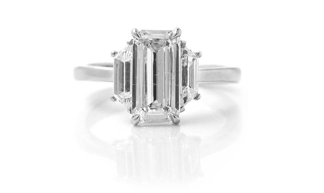 White Diamond Ring, 2.03 Ct. (2.70 Ct. TW), Emerald shape, GIA Certified, 7288858343