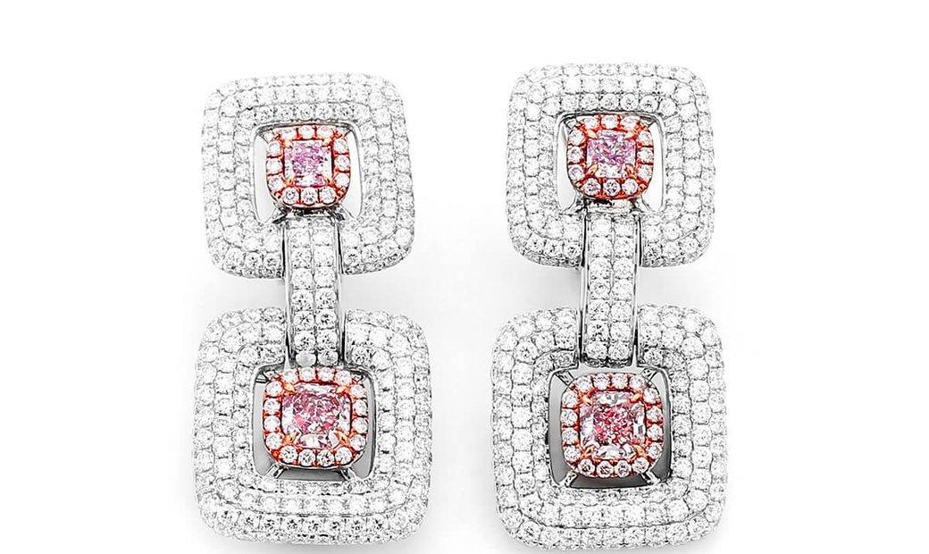 Very Light Pink Diamond Earrings, 1.14 Ct. (5.52 Ct. TW), Radiant shape, GIA Certified, JCEF05414688