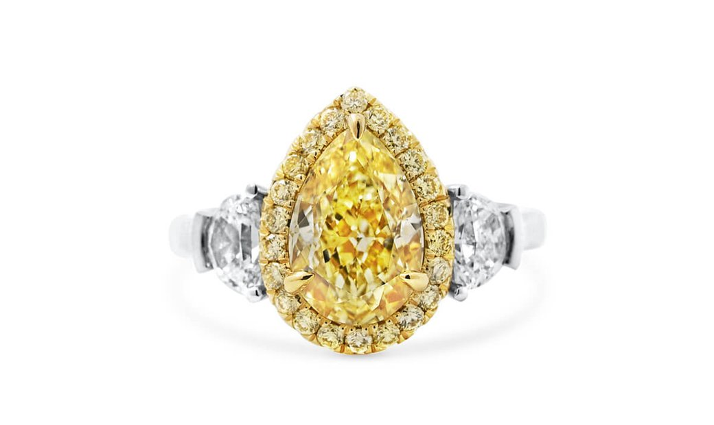Fancy Light Yellow Diamond Ring, 2.40 Ct. (3.30 Ct. TW), Pear shape, GIA Certified, 2181997975