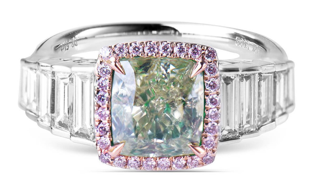 Fancy Grayish Greenish Yellow Diamond Ring, 2.51 Ct. (3.57 Ct. TW), Cushion shape, GIA Certified, 32