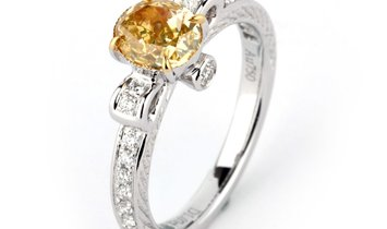 Fancy Intense Yellow Diamond Ring, 1.07 Ct. (1.31 Ct. TW), Oval shape, GIA Certified, 2176006642