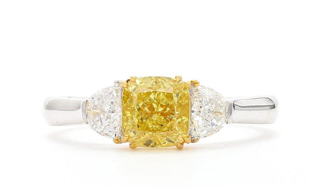 Fancy Intense Yellow Diamond Ring, 1.27 Ct. (1.65 Ct. TW), Cushion shape, GIA Certified, 5246169460