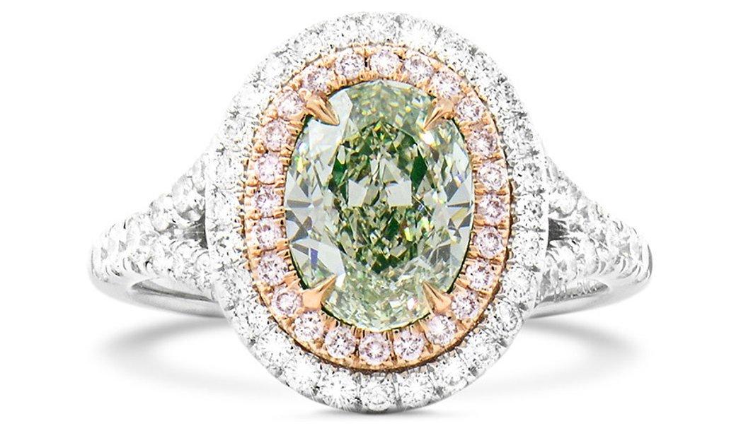 Fancy Light Yellowish Green Diamond Ring, 1.02 Ct. (1.50 Ct. TW), Oval shape, GIA Certified, 5146675
