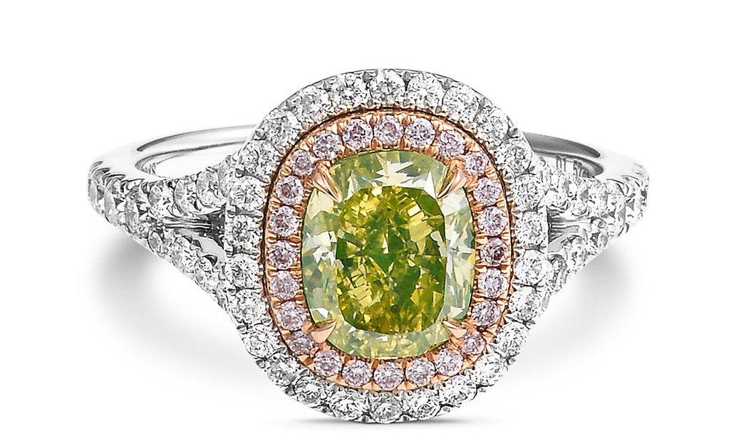 Fancy Intense Greenish Yellow Diamond Ring, 1.57 Ct. (2.59 Ct. TW), Cushion shape, GIA Certified, 11