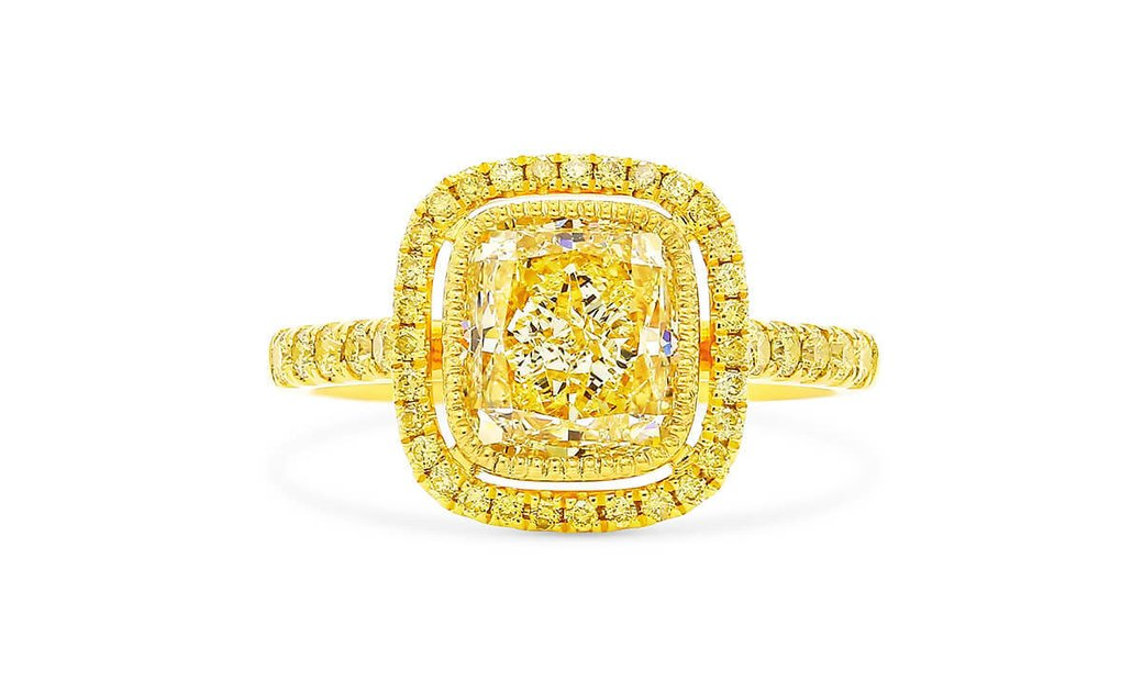 Fancy Light Brownish Yellow Diamond Ring, 2.60 Ct. (2.99 Ct. TW), Radiant shape, GIA Certified, 2171