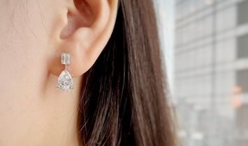 White Diamond Earrings, 0.93 Carat, Emerald shape