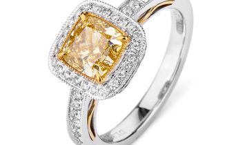 Fancy Intense Yellow Diamond Ring, 1.36 Ct. (1.78 Ct. TW), Cushion shape, GIA Certified, 6221180636