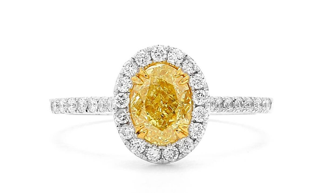 Fancy Intense Yellow Diamond Ring, 1.01 Ct. (1.32 Ct. TW), Oval shape, GIA Certified, 2195261474