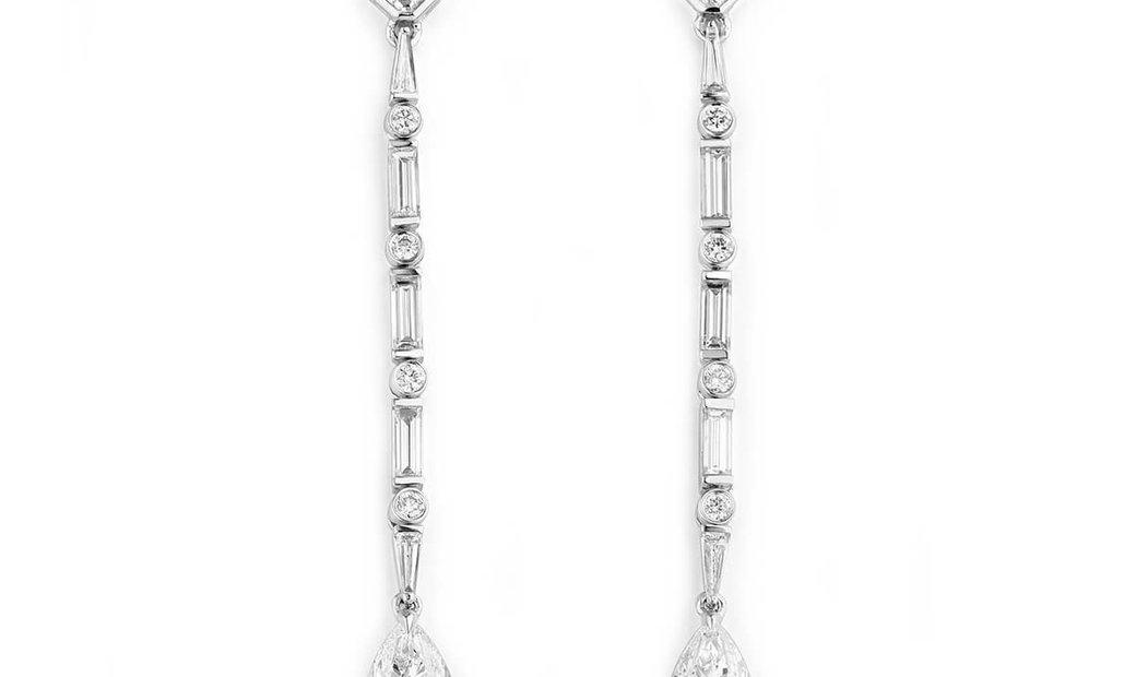 White Diamond Earrings, 2.00 Ct. (3.40 Ct. TW), Pear shape, GIA Certified, JCEW05408416