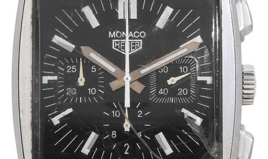 Heuer Monaco CS2111 , Baton, 2010, Good, Case material Steel, Bracelet material: Leathe
