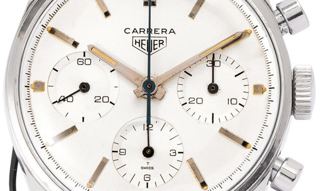 Heuer Carrera  2447S , Baton, 1966, Good, Case material Steel, Bracelet material: Leath