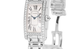Cartier Tank Americaine 2489, Roman Numerals, 2003, Very Good, Case material White Gold