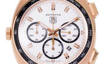 TAG Heuer Autavia CY5140.FC8158, Baton, 2003, Very Good, Case material Rose Gold, Brace