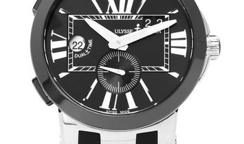 Ulysse Nardin Dual Time 243-00-42, Roman Numerals, 2018, Very Good, Case material Steel