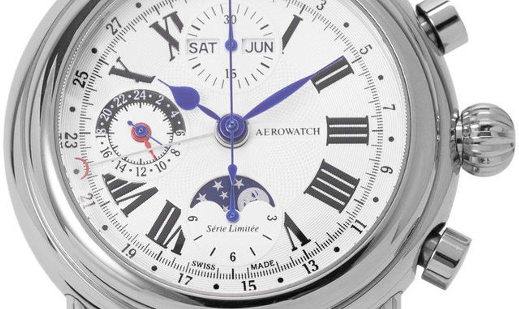 Aerowatch Chronograph 64908, Roman Numerals, 2005, Very Good, Case material Steel, Brac