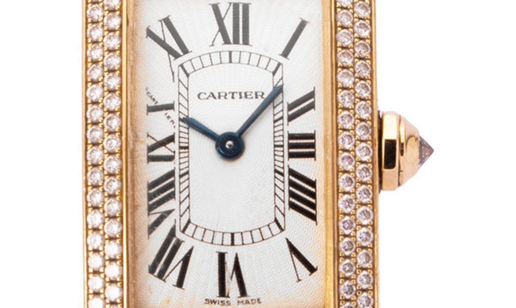 Cartier Tank Americaine 2482, Roman Numerals, 2005, Good, Case material Yellow Gold, Br