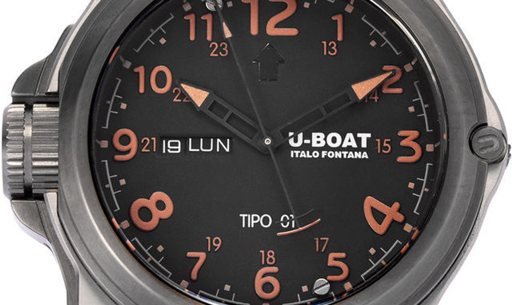 U-Boat Tipo 01  BK/BR 7472 , Arabic Numerals, 2018, Good, Case material Titanium, Brace