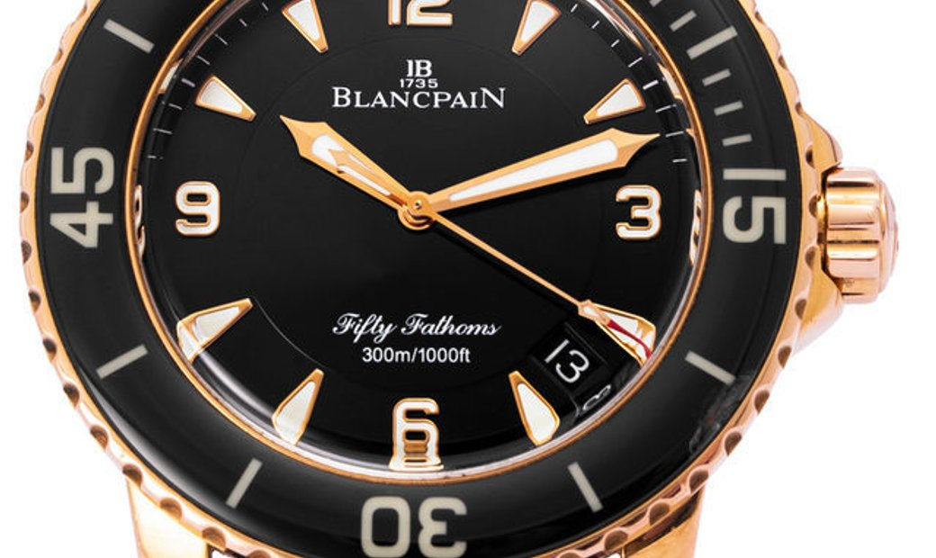 Blancpain Fifty Fathoms 5015 3630 52A, Baton, 2009, Very Good, Case material Rose Gold,